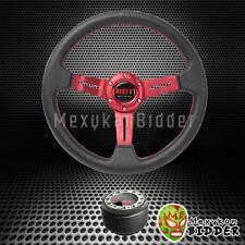 "330mm Black/Red 2"" Deep Dish Steering Wheel Hub Adapter Mitsubish Montero 91-06"