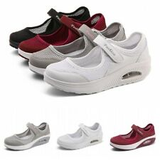 Womens Cushioned Slip On Wedge Heel Sneakers Comfort Breathable Loafers Shoes B
