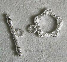 2x Sterling Silver Garden Flower Bracelet Necklace Connector Toggle Clasp 12mm