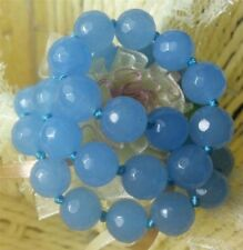 "12MM FACETED BLUE BRAZILIAN AQUAMARINE GEMS ROUND BEADS NECKLACE 18"" JN346"