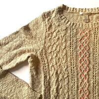 White + Warren Womens Sweater Crew Neck 100% Cotton Marled Beige Oatmeal Sz. S