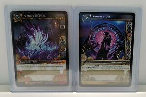 WOW TCG Blizzard World Of Warcraft Portal Stone And Grim Campfire Loot Card