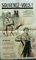 """Affiche militaria guerre de 1914/18  """" Souvenez - vous """""""