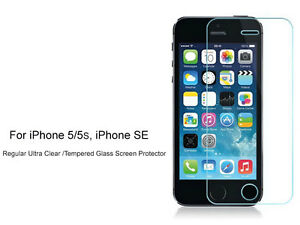 2xRegular Ultra Clear/Tempered Glass Screen Protector For iPhone 5 5s, iPhone SE