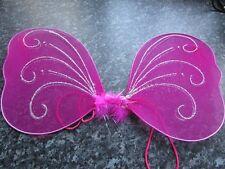 Pink small Fairy butterfly fabric wings glitter elastic kids hen fancy dress