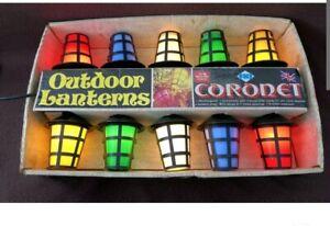 Rare 1970s CORONET Outdoor 10 Lanterns Vintage Christmas Multicoloured Lights