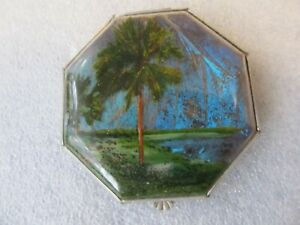 Lovely foil compact - Pacific Island, made by Gwenda, Octagonal, Circa 1930's