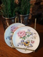 2 Crown Staffordshire Chelsea Manor Coasters / Butter Pats - Gold Trim