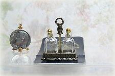 Dollhouse Miniature Reutter Glass Brandy Decanters in Metal Holder