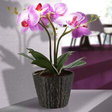 Deko LED Kunst Pflanze Orchidee Blumen Topf Wohnzimmer Beleuchtung Blüten Lila