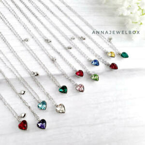 Real 925 Sterling Silver Crystal Birthstone Heart Pendant Necklaces Free Gift