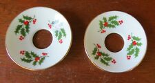 2 Beacon Hill China Holly Bobeches Gold Trim
