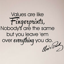 Elvis Presley Values Are Like Fingerprints Nobody's are Same Wall Decal Sticker