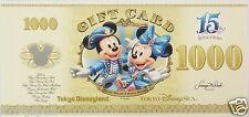 Tokyo Disney SEA 15th Anniversary Gift Card Disney Dollar 1000 YEN TDR JAPAN