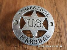 """TOMBSTONE NOVELTY BADGE OLD WEST SILVER STAR PIN BACK  2"""" INCHES"""