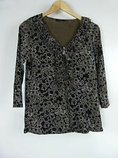 MARCO POLO Top/blouse Sz L Black brown print Exposed zip
