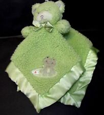 Tiddliwinks Green Teddy bear Frog Sherpa fleece satin security blanket rattle