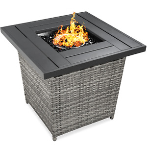 Best Choice Products 28in Fire Pit Table 50,000 BTU Outdoor Wicker Patio w/ Glas