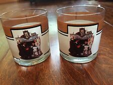 """NORMAN ROCKWELL 1927 Tea Time, Set of 2 Brown Double Old Fashion Glasses 3.5"""""""