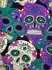 PLUS Sugar Skull Leggings Purple Teal Pink Skeleton Printed Curvy 10-18