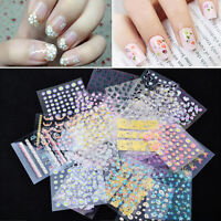 10 Sheets Nail Art Transfer Stickers 3D Design Manicure Tips Decal  X10 UK