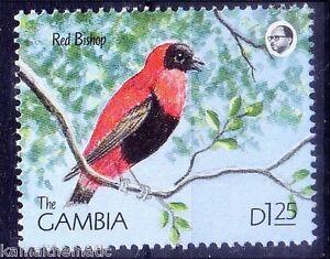 Gambia 1990 MNH, Birds, Red Bishop small passerine bird