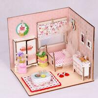MagiDeal 1/24 Dollhouse Miniature Diorama DIY Kits Pink Bedroom Room Box Toy