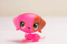 *Littlest Pet Shop* LPS #3179 Clear Pink Maroon Playful Puppy Dog w/ Brown Eyes