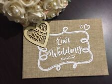 Hessian WEDDING GUEST BOOK WITH WOODEN MR &MRS HEART NATURAL BURLAP GIFT