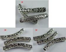 20pcs Tibetan Silver Hollow Curved Tube Spacer Beads 48x7.5mm
