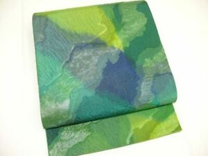 Green Silk Japanese SHARE-FUKURO OBI w/Gold & FUKURE-ORI K487