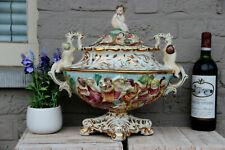 huge italian capodimonte marked porcelain centerpiece lidded bowl vase putti