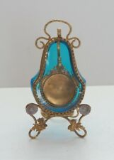 19th C. PALAIS ROYAL Pocket Watch Stand Holder, Turquoise Glass