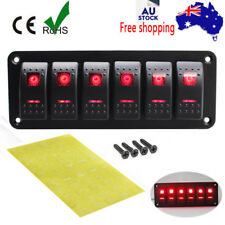 6 Gang 2LED Light Rocker Switch Panel Circuit Breaker 12V Boat Marine Waterproof