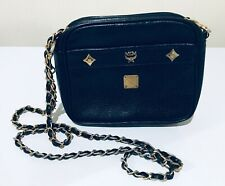MCM Black Leather Cross Body Chain Bag Vintage