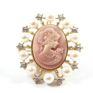 Pink (Gold) Cameo White Freshwater Cultured Pearl Brooch 6.5-7.0mm