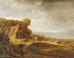Oil painting govert teunisz flinck - Landscape with farm and a bridge autumn art