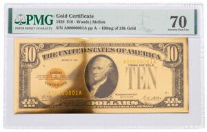 1928 $10 24KT Gold Certificate Commemorative PMG 70 Gem Unc