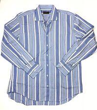 Men's ETRO Milano Blue Striped Long Sleeve Button Down Shirt size 44