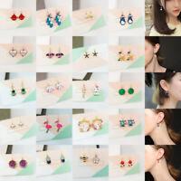 Women Cute Cartoon Animal Bee Bird Cat Rhinestone Ear Stud Earrings Jewelry Gift