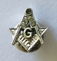 Masonic Stonemason Letter G God Small Silver Style Pin Badge Rare Vintage (R8)