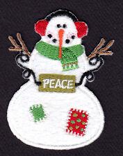 SNOWMAN PEACE Iron On Patch Winter Snow Christmas