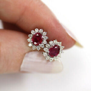 1.2 ctw Natural Ruby & Diamond Solid 14k White Gold Halo Cluster Stud Earrings