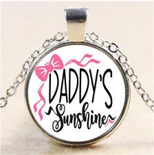 daddy's sunshine Photo Cabochon Glass Tibet Silver Pendant Necklace#CI33