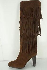 Stuart Weitzman Suede Fringie Knee High Riding Boots size 6 New Trim