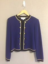 St. John Collection Navy/Black/Gold Button Zip Up Blazer (8) Shell (S) Two Piece