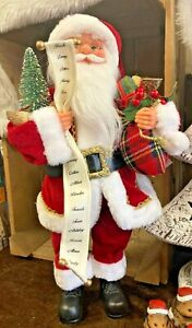 Santa Christmas Freestanding With Sack of Toys Ornament Height 46cm