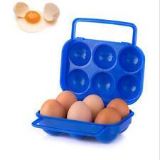 Portable 6 Eggs Plastic Container Holder Folding Egg Storage Box Handle Case