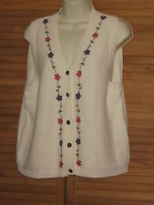 Cottage Essentials Cream Embroidered Floral Sweater Vest Size M #CL80