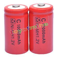 2 x size C 1.2V 10000mAh Ni-MH ricaricabile del batteria Rosso